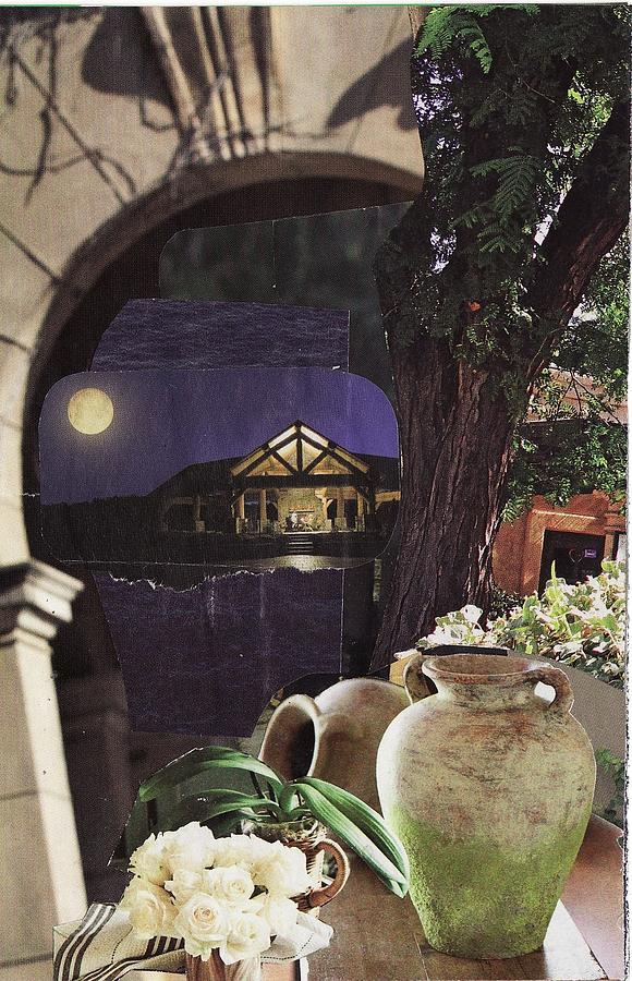Collage Mixed Media - Silver Moon Above the Lake by Matthew Hoffman