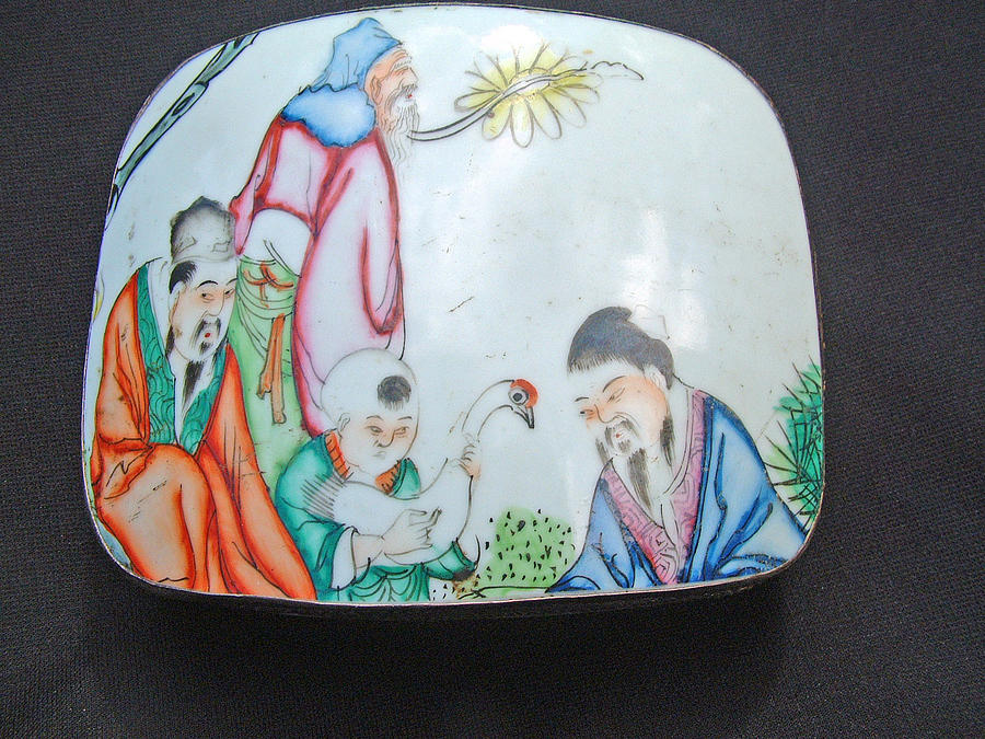 Silver Box Ceramic Art - Silver Or Silver Plated Box Decorated On The Lid With Antique Porcelain Fragment by Anonymous Chinese silversmith