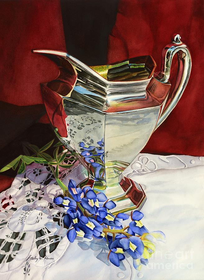 Silver Pitcher And Bluebonnet Painting