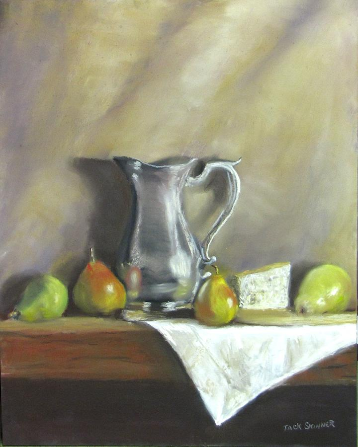 Still Life Painting - Silver Pitcher With Pears by Jack Skinner