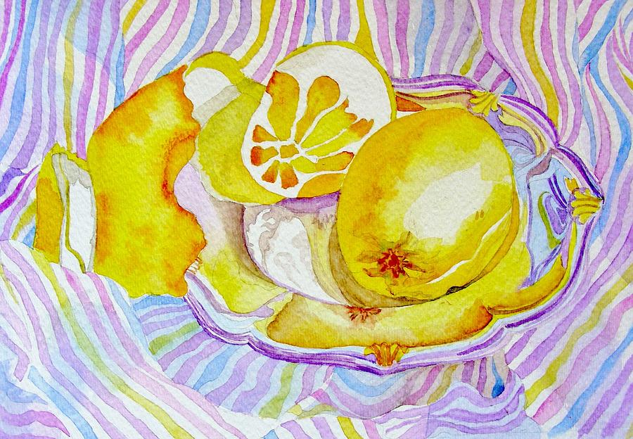 Silver Plate With Lemons Painting by Elena Mahoney