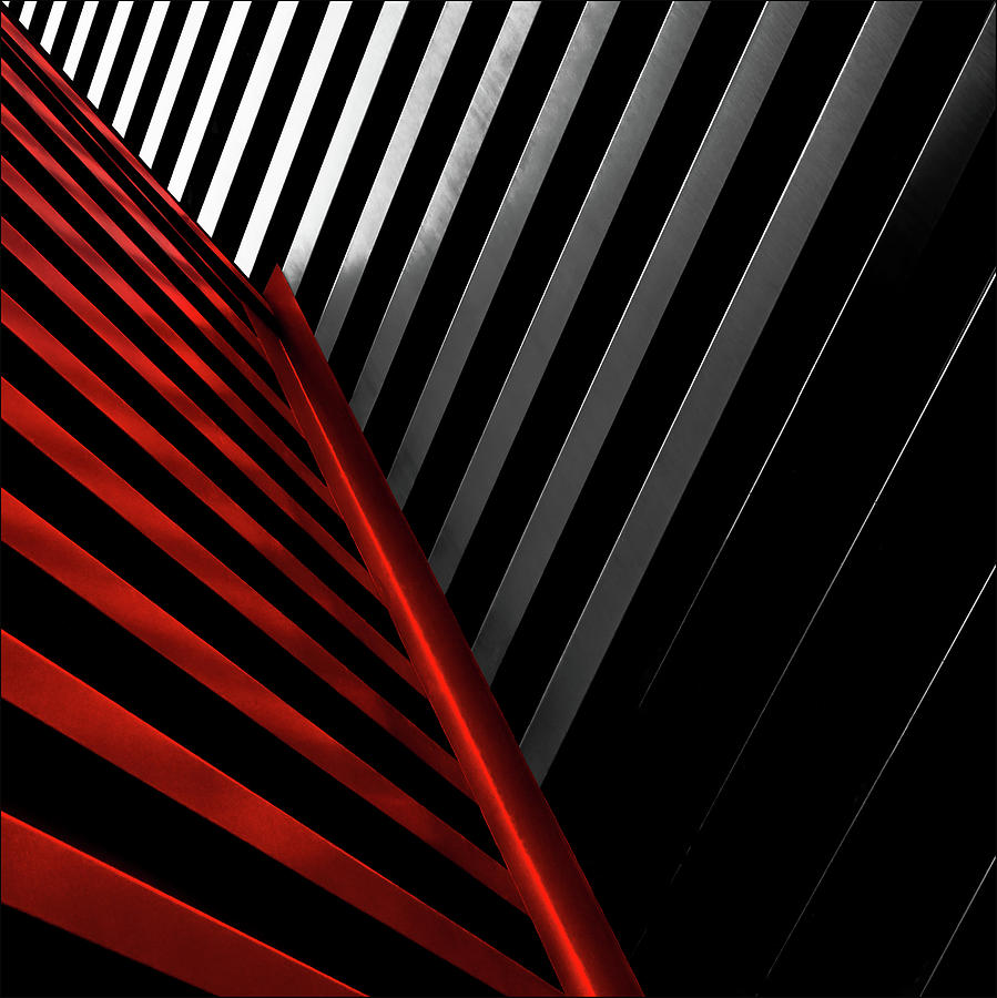 Abstract Photograph - Silver Red by Gilbert Claes