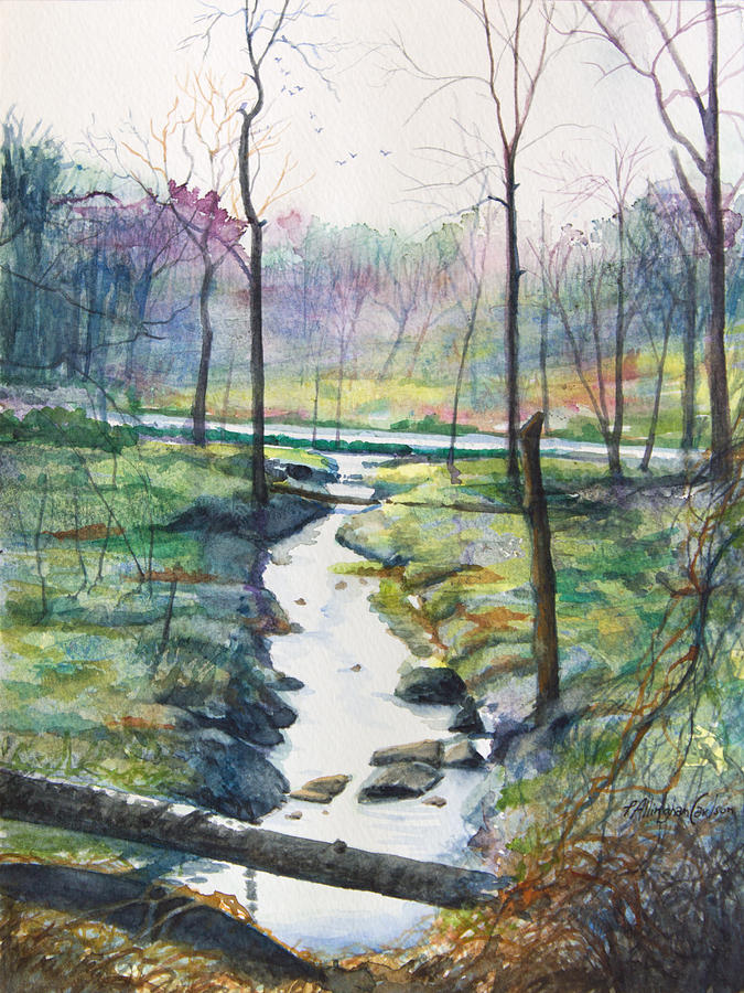 Landscape Painting - Silver Ribbon Stream by Patricia Allingham Carlson