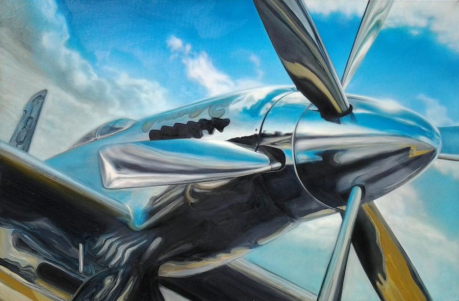 Mustang Painting - Silver Sky Plough by Riek  Jonker