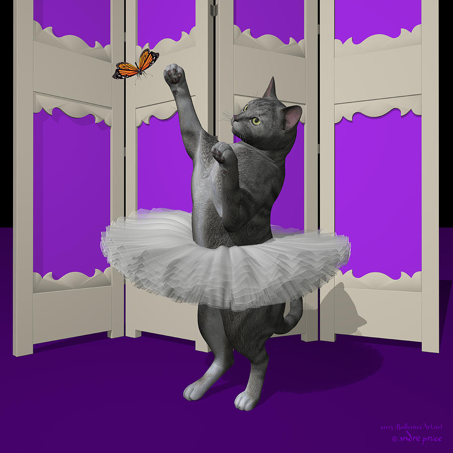 Silver Tabby Digital Art - Silver Tabby Ballet Cat On Paw-te by Andre Price