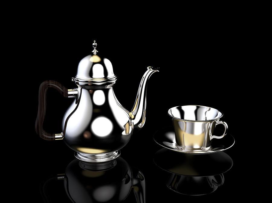 Silver Teapot Digital Art