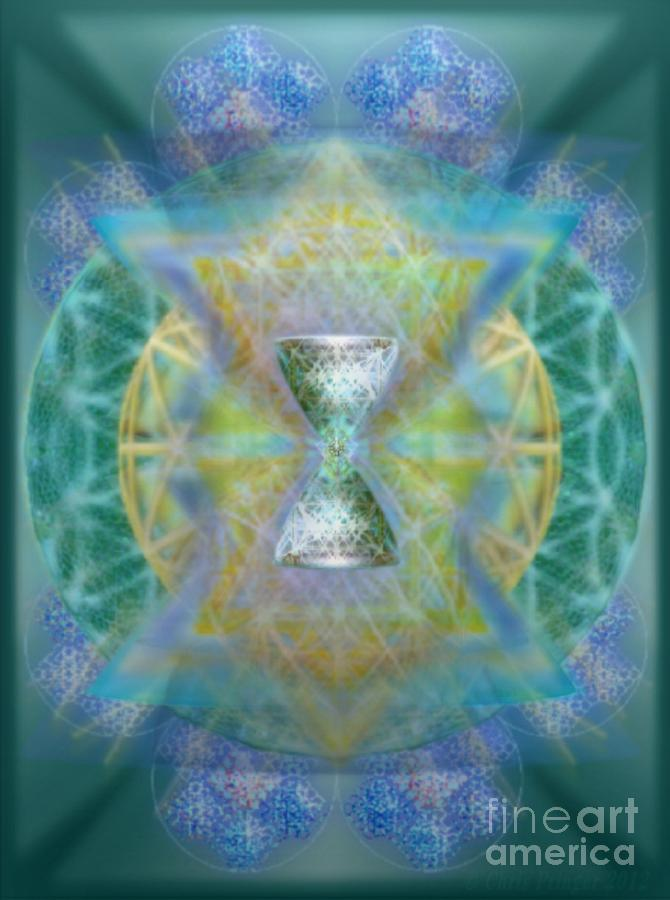 Chalice Digital Art - Silver Torquoise Chalicell Ring Flower Of Life Matrix II by Christopher Pringer