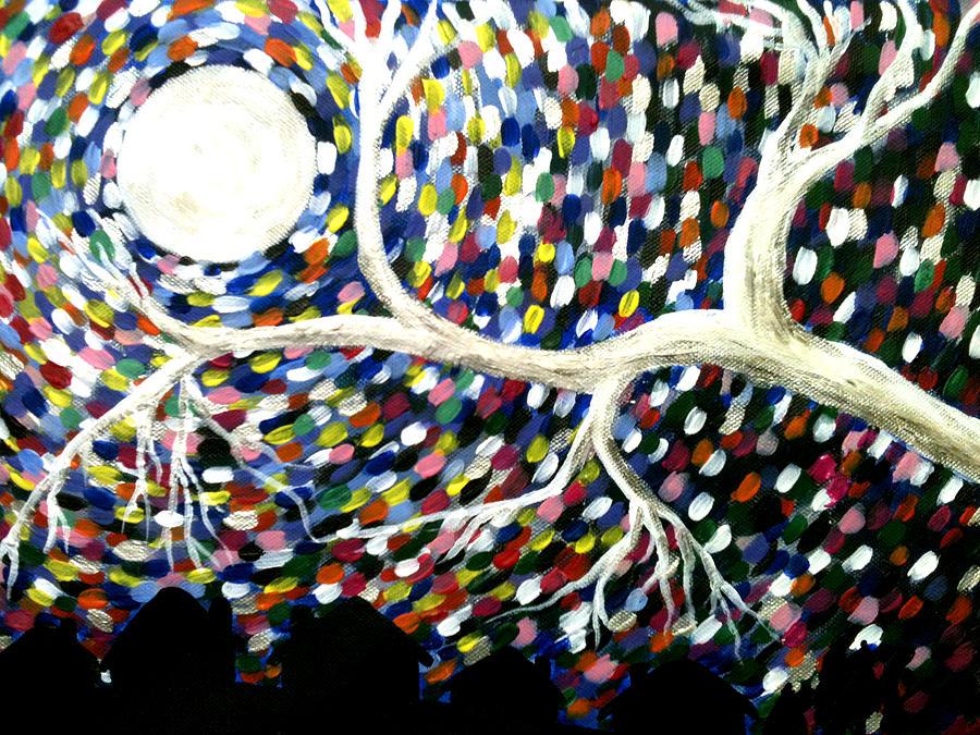 Tree Painting - Silver Tree At Night by Beril Sirmacek