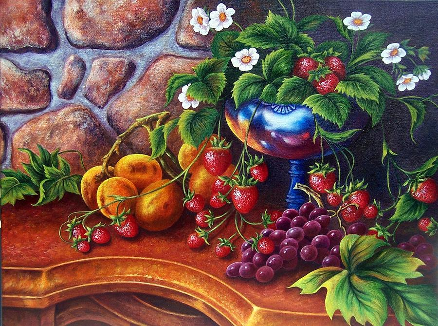 Painting Of Grapes Painting - Silver Vase by Glenda Stevens