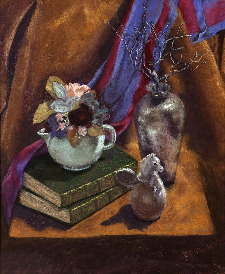 Still Life Pastel - Silver Vase  by Rebecca Poole