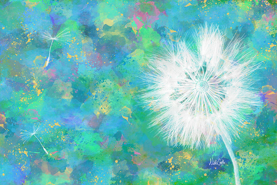 Dandelion Digital Art - Silverpuff Dandelion Wish by Nikki Marie Smith