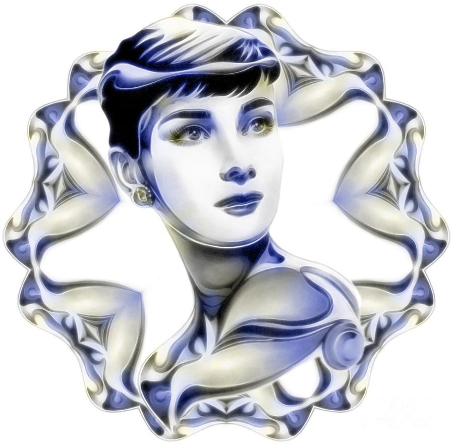 Audrey Hepburn Digital Art - Silverscreenstar Audrey Hepburn by Wu Wei