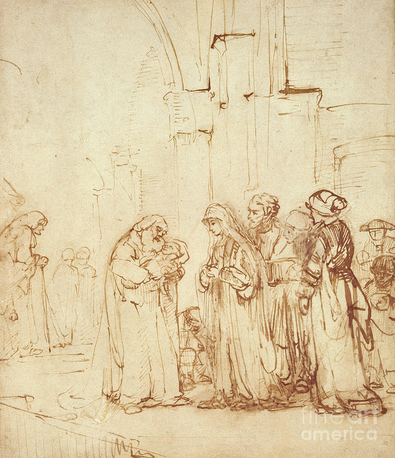 Temple Drawing - Simeon And Jesus In The Temple by Rembrandt Harmenszoon van Rijn