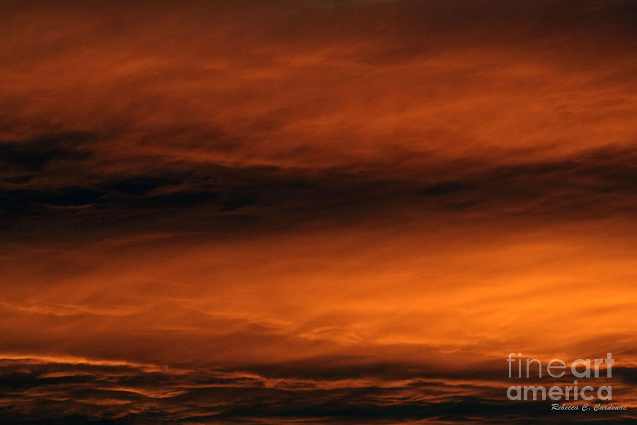 Sky Photograph - Simmering Golden Clouds by Rebecca Christine Cardenas