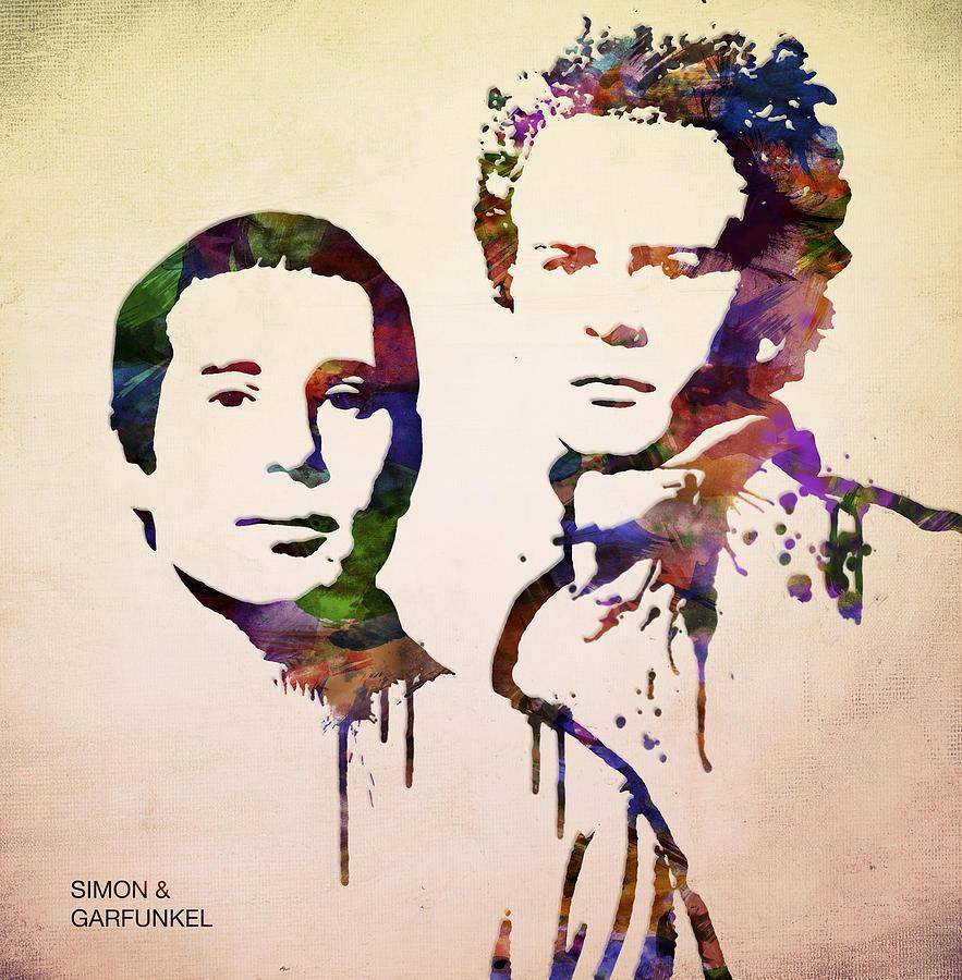 Garfunkel Digital Art - Simon And Garfunkel by Aged Pixel