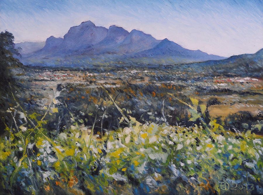 Impressionism Painting - Simonsberg Cape Town South Africa by Enver Larney