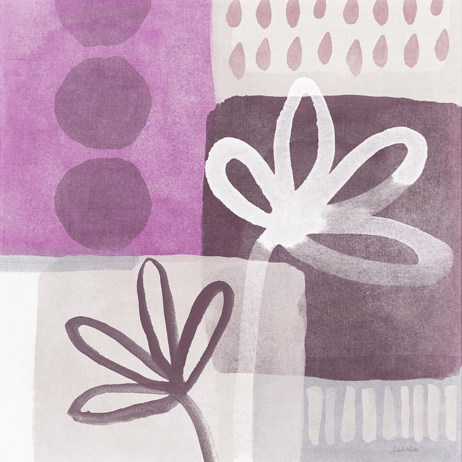 Hope Mixed Media - Simple Flowers- Contemporary Painting by Linda Woods