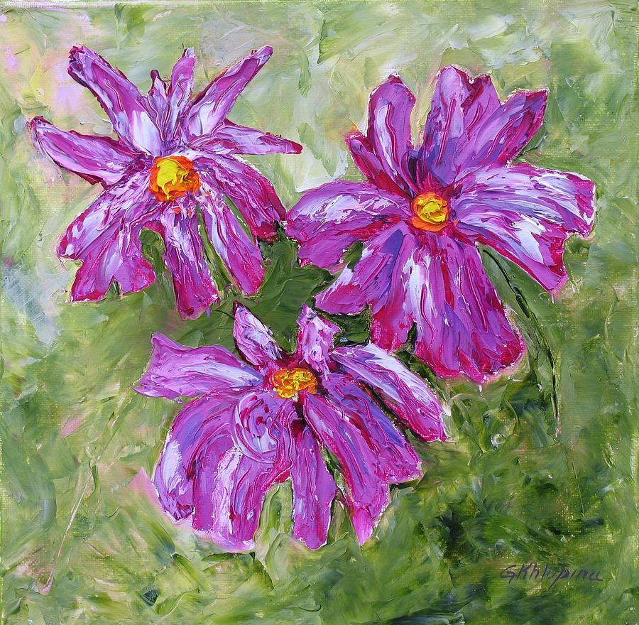 Simple Flowers Painting by Galina Khlupina