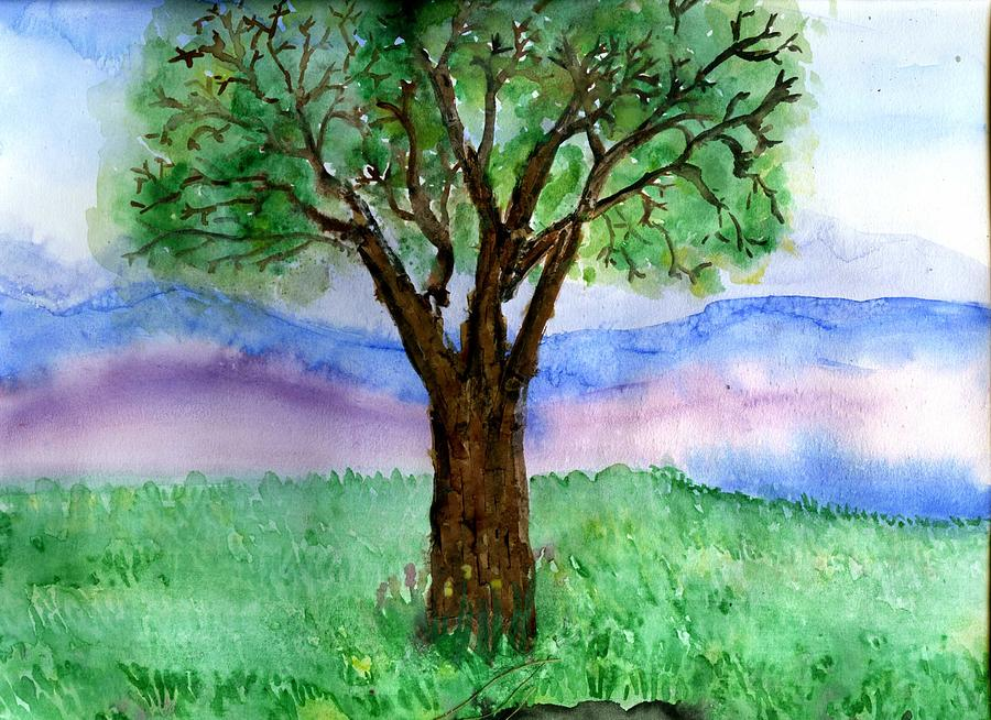 """48""""x24"""" Tree of Life - PRINT STRETCHED & EMBELLISHED ...  Simple Tree Life Painting"""