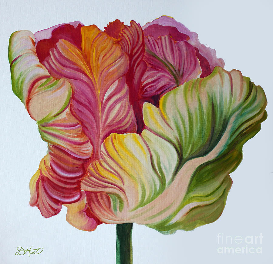 Tulip Painting - Simple Tulip by Debbie Hart