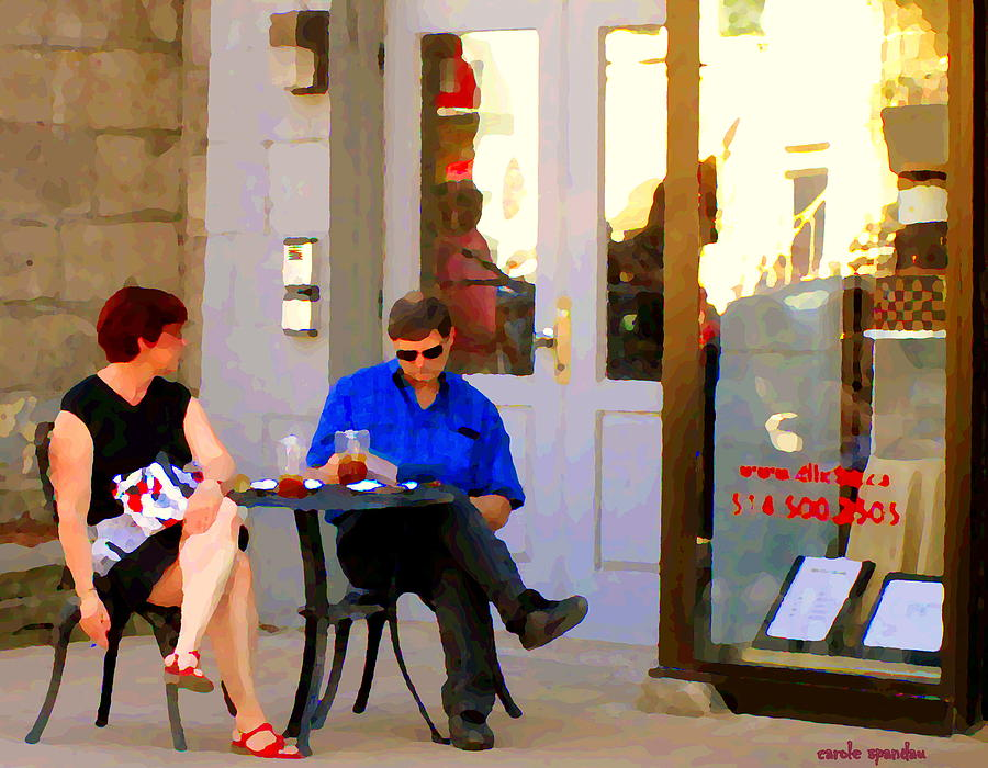 Montreal Painting - Simplement Dliche Cupcakes Et Ice Tea Bistro Rue St Denis Plateau Montreal Cafe Scene Carole Spandau by Carole Spandau