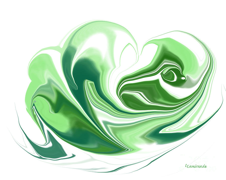 Digital Painting - Simplicity In Green by Louise Lamirande
