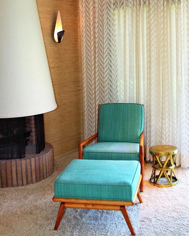 Frank Sinatra Photograph - SINATRA BLUE CHAIR Sinatra House Palm Springs by William Dey