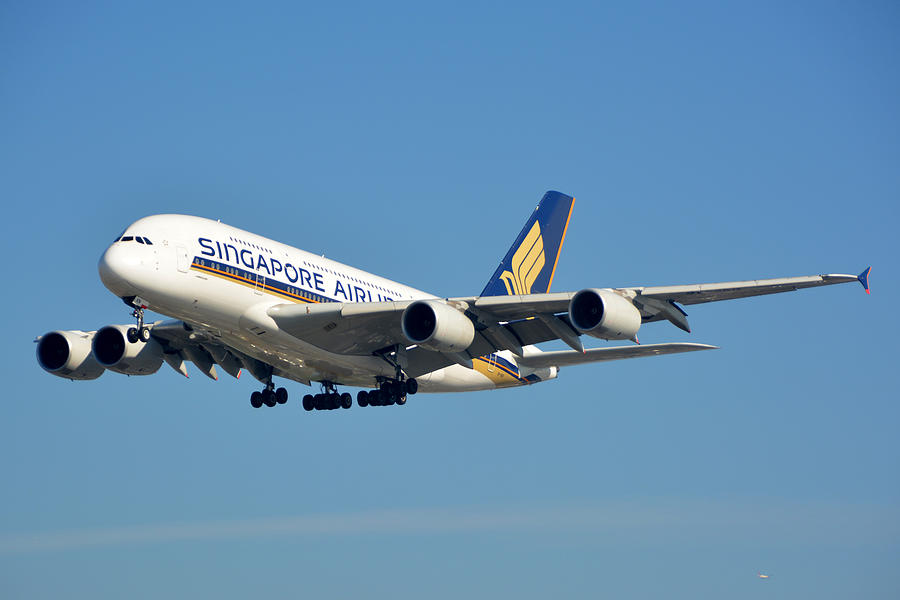 Airplane Photograph - Singapore Airbus A380-841 9v-skn Los Angeles International Airport January 19 2015 by Brian Lockett