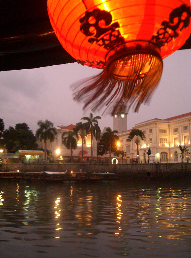 Chinese Lantern Photograph - Singapore Boat Quay by Jack Edson Adams