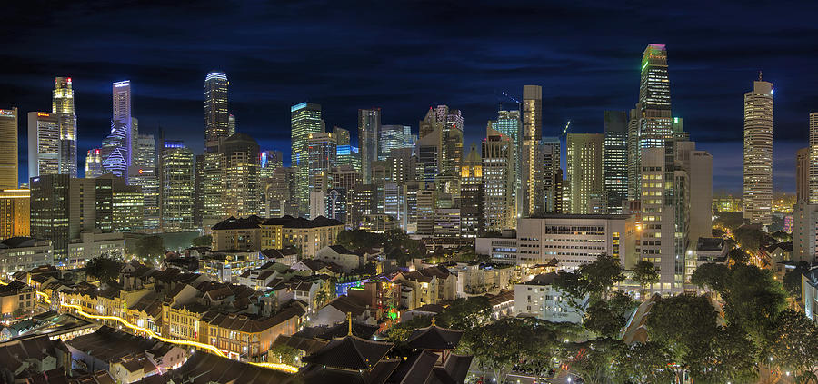 Singapore Photograph - Singapore Central Business District Skyline and Chinatown at Dus by David Gn