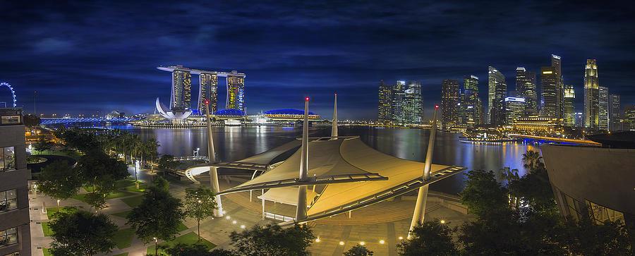 Singapore Central Business District Skyline At Dusk Photograph
