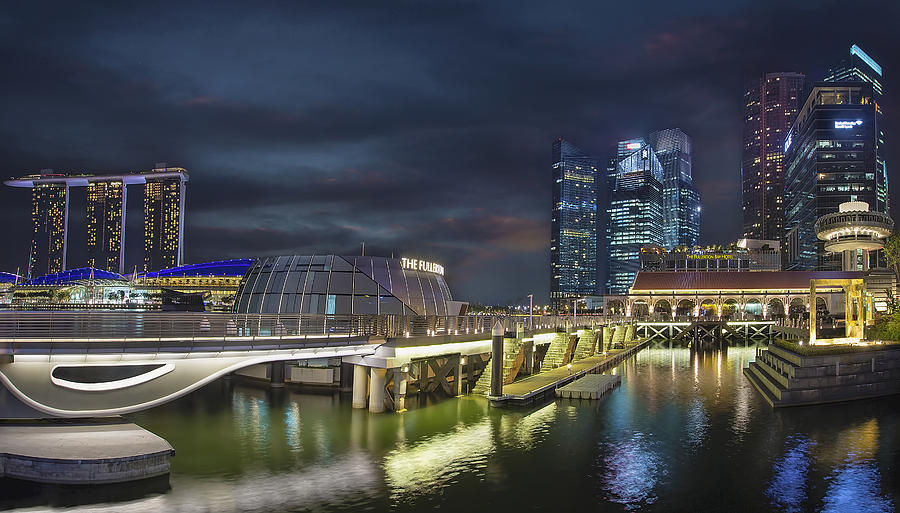 Singapore Photograph - Singapore City by The Fullerton Pavilion at Night by David Gn