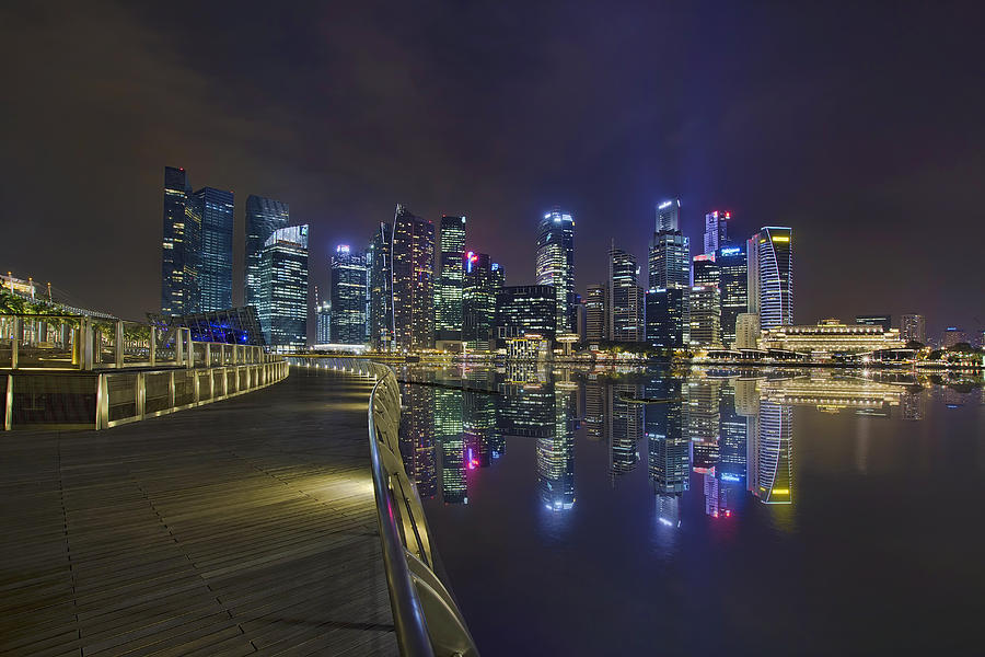 Singapore Photograph - Singapore City Skyline Along Marina Bay Boardwalk At Night by David Gn