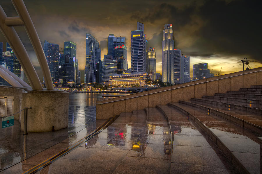 Singapore Photograph - Singapore City Skyline By The Esplanade by David Gn
