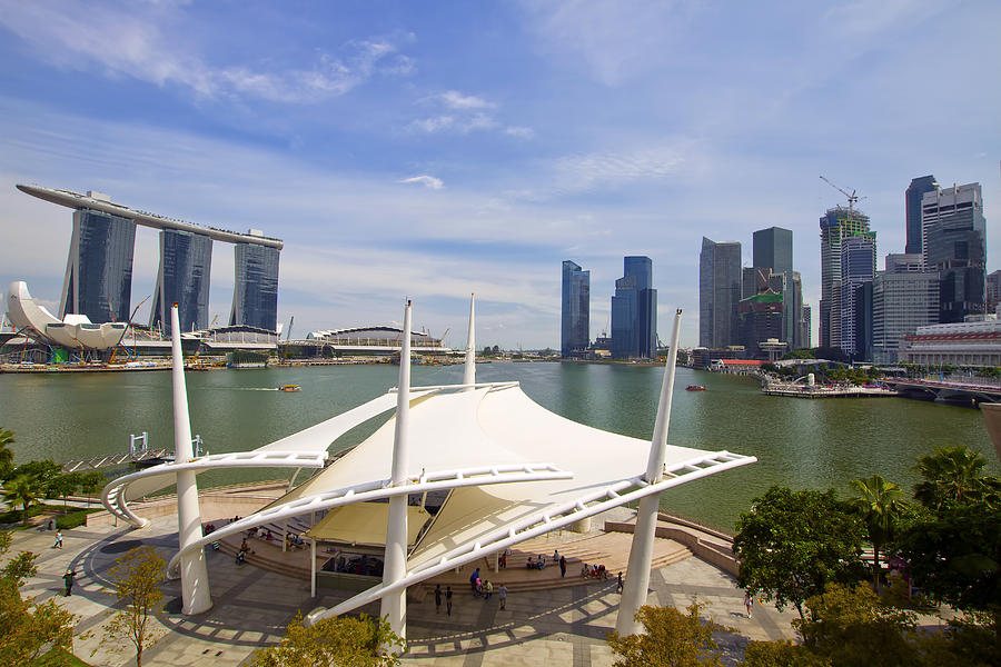 Marina Photograph - Singapore City Skyline From The Esplanade by David Gn