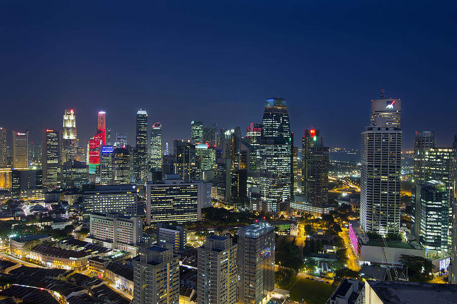 Singapore Photograph - Singapore Cityscape At Blue Hour by David Gn