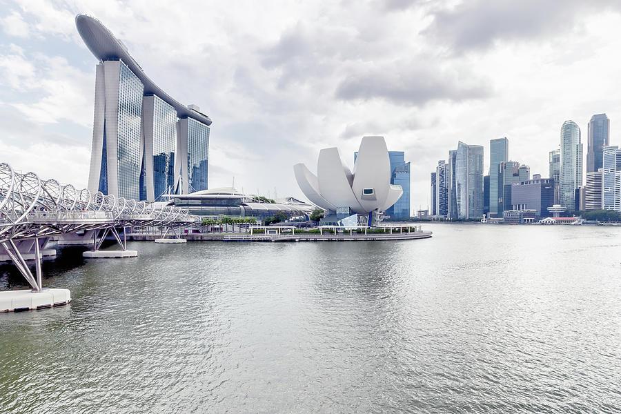 Singapore Clean White Skyline Photograph by Steffen Schnur