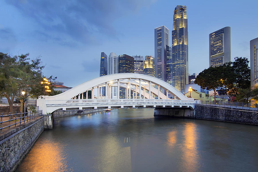 Singapore Photograph - Singapore Skyline by Elgin Bridge Along River by Jit Lim