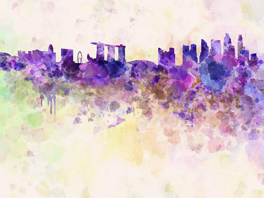 Singapore Skyline In Watercolour Background Digital Art By