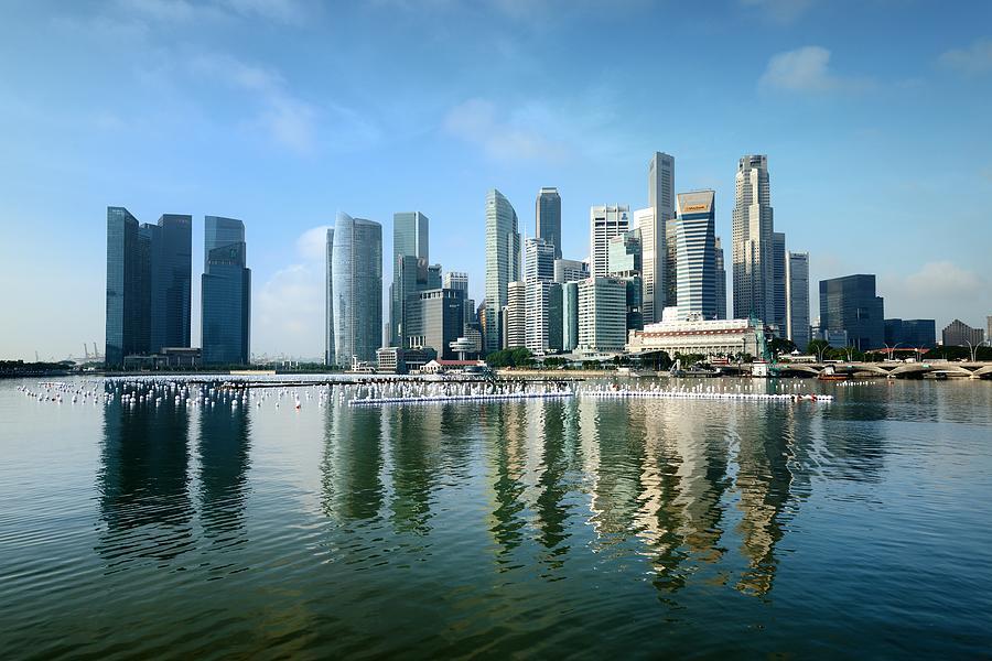 Singapore Skyline On A Blue Sunny Day Photograph by Carlina Teteris