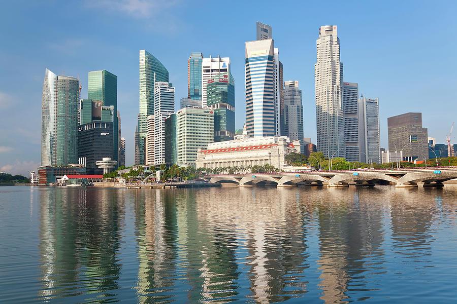 Asia Photograph - Singapore Skyline, Singapore, Se Asia by Peter Adams
