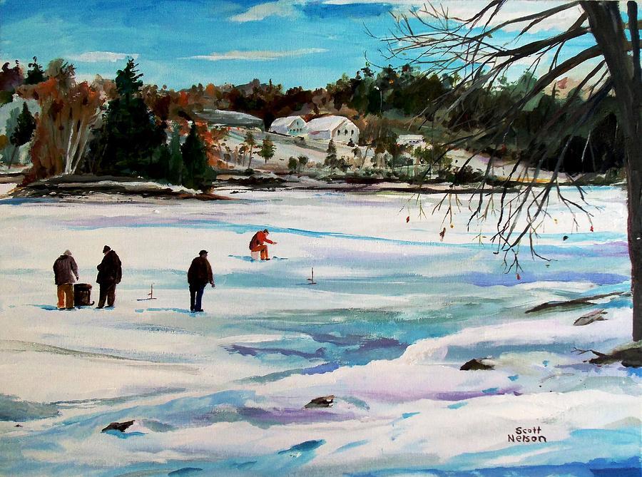 Millbury Painting - Singeltary Lake Ice Fishing by Scott Nelson