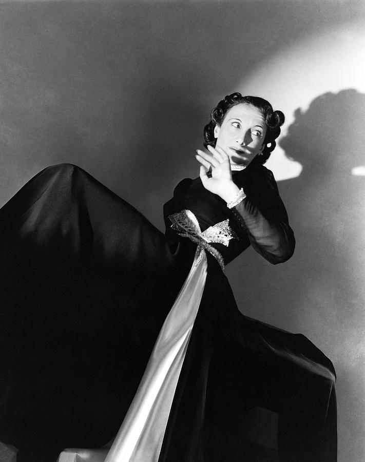 Singer Greta Keller Wearing A Black Dress Photograph by Horst P. Horst