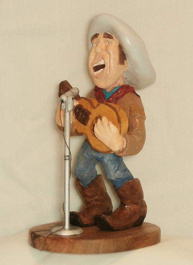 Wood Carving Sculpture - Singing Cowboy by Russell Ellingsworth