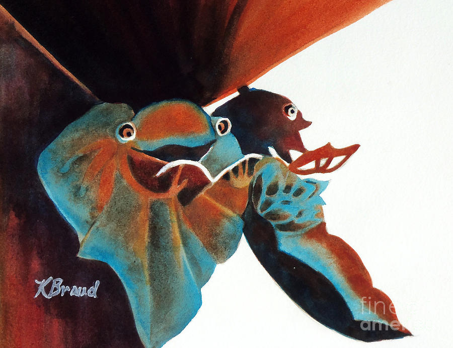 Painting Painting - Singing Frog Duet 2 by Kathy Braud