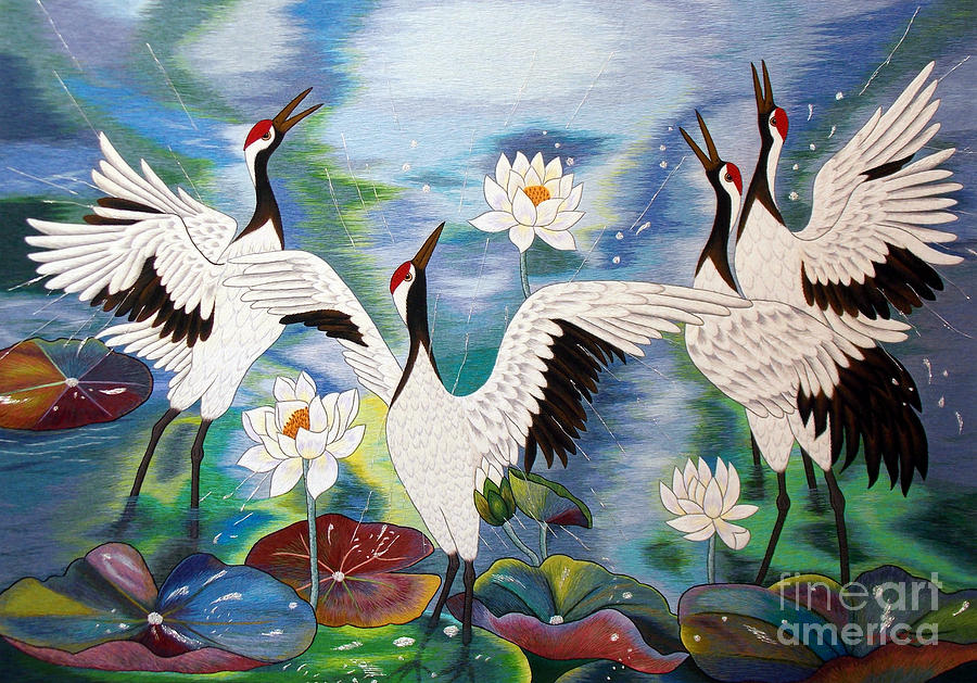 Lotus Tapestry - Textile - Singing In The Rain Hand Embroidery by To-Tam Gerwe