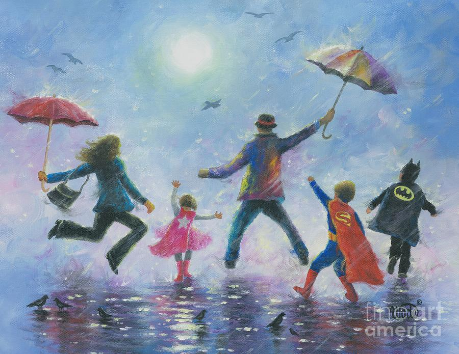 Happy Family Painting - Singing In The Rain Super Hero Kids by Vickie Wade