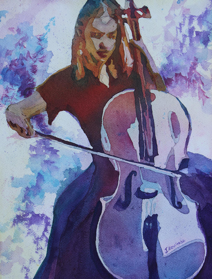 Cello Painting - Singing The Cello by Jenny Armitage