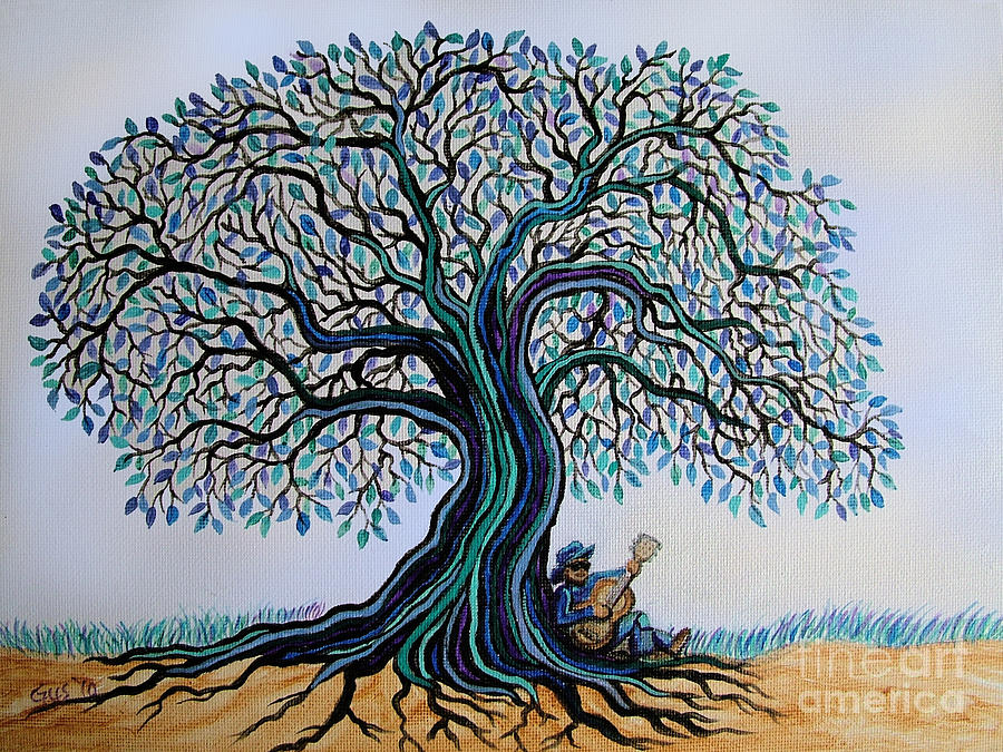 Blues Painting - Singing Under The Blues Tree by Nick Gustafson