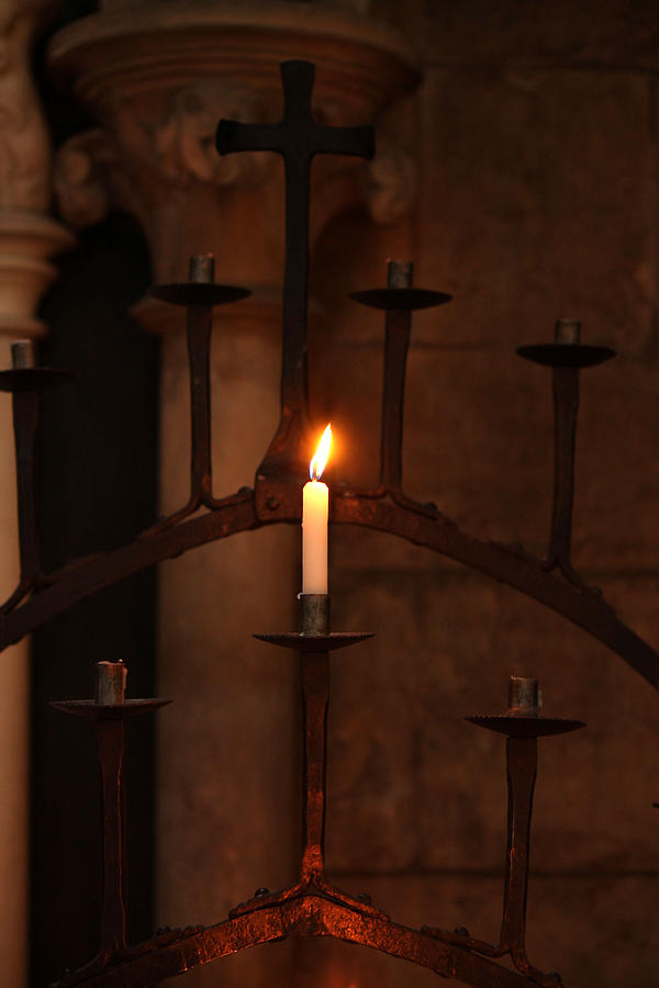Single Church Candle Burning by Sarah Broadmeadow-Thomas